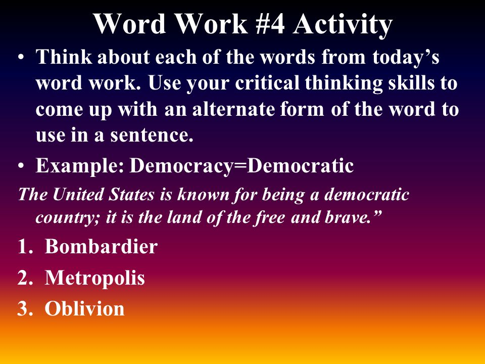Word Work #4 Activity
