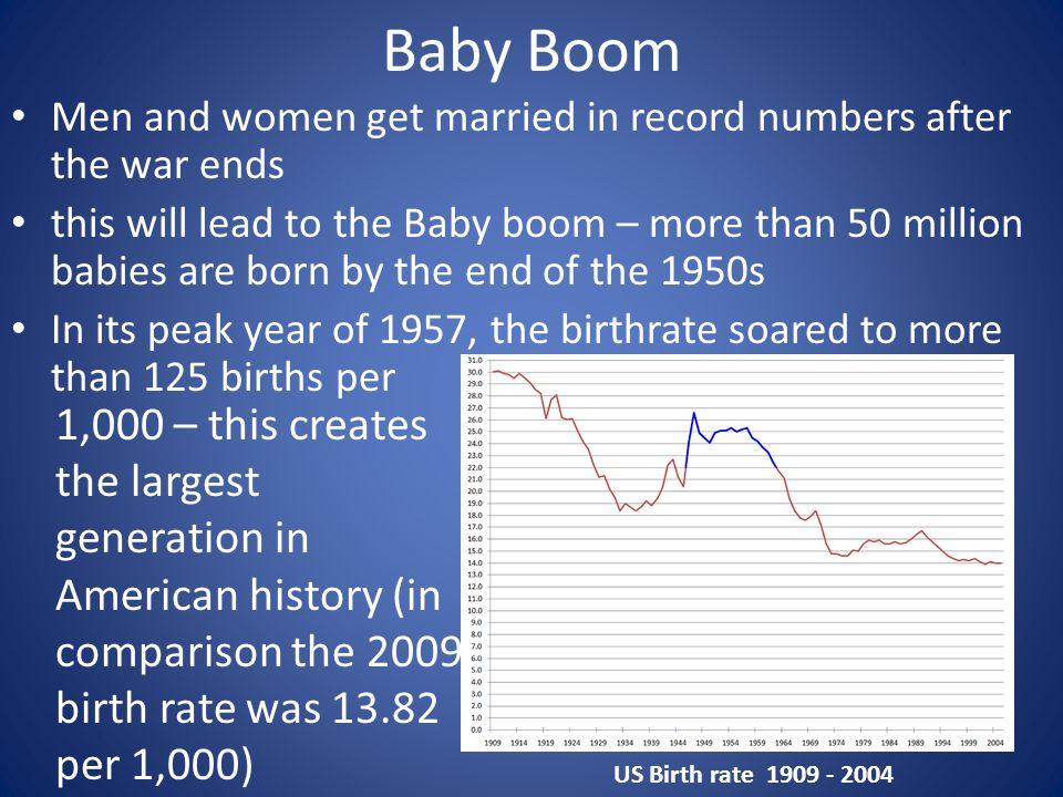 Baby Boom Men and women get married in record numbers after the war ends.