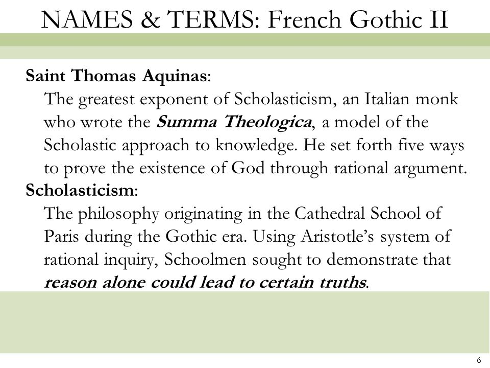 NAMES & TERMS: French Gothic II
