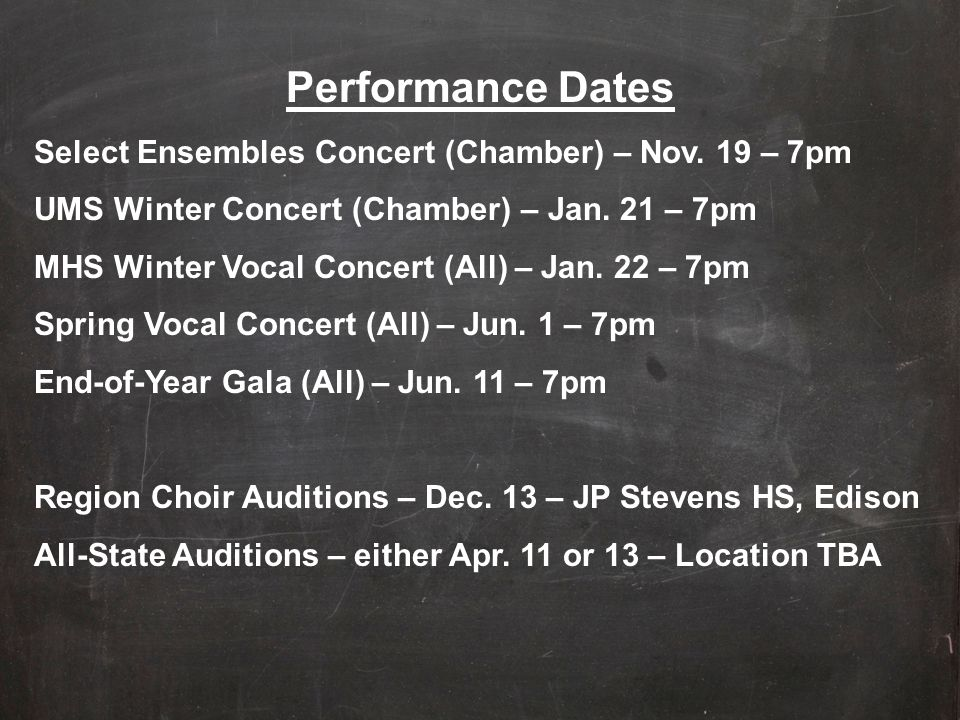 Performance Dates Select Ensembles Concert (Chamber) – Nov. 19 – 7pm