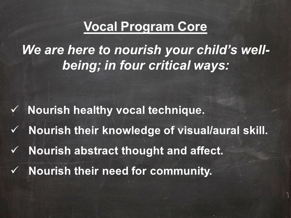 We are here to nourish your child's well-being; in four critical ways: