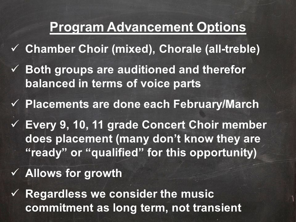 Program Advancement Options