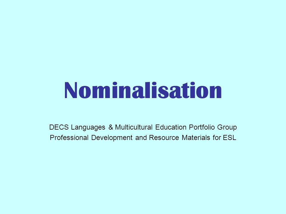 nominalisation decs languages multicultural education portfolio nominalisation decs languages multicultural education portfolio group