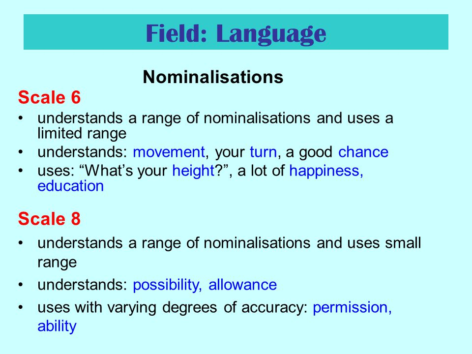 Field: Language Nominalisations Scale 6 Scale 8