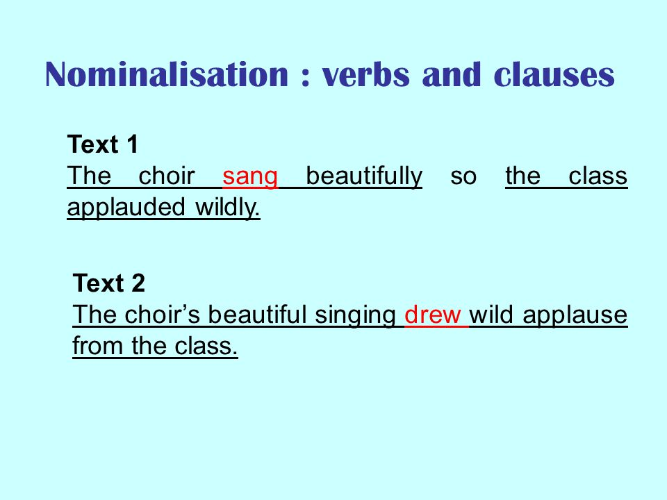Nominalisation : verbs and clauses