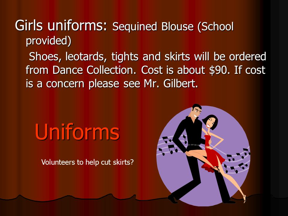 Uniforms Girls uniforms: Sequined Blouse (School provided)