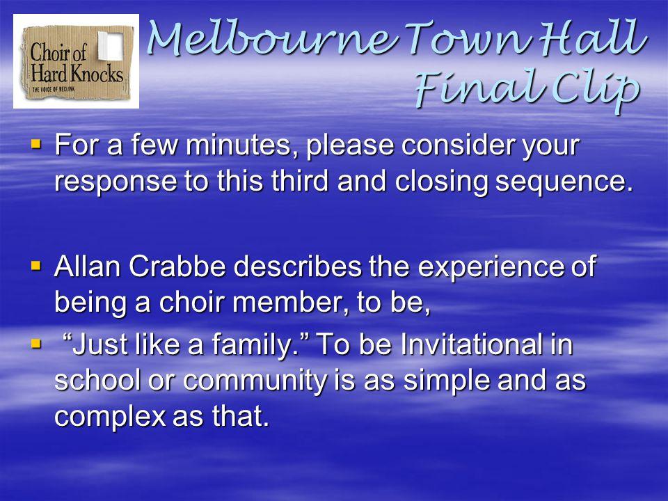 Melbourne Town Hall Final Clip