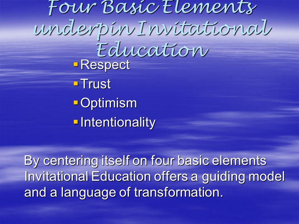 Four Basic Elements underpin Invitational Education