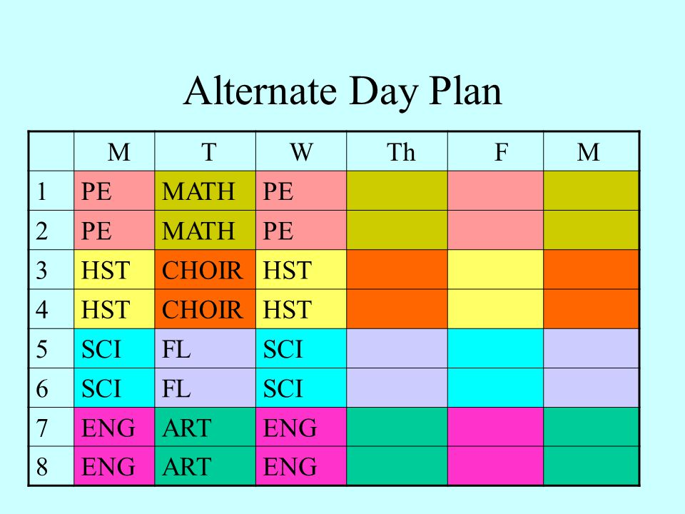 Alternate Day Plan M T W Th F 1 PE MATH 2 3 HST CHOIR 4 5 SCI FL 6 7