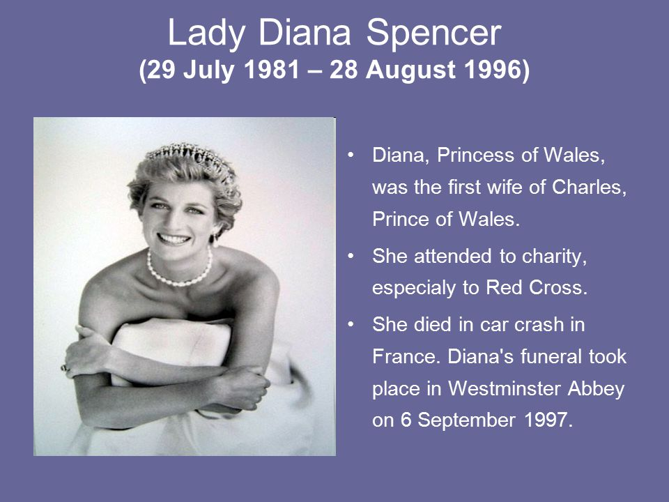 Lady Diana Spencer (29 July 1981 – 28 August 1996)