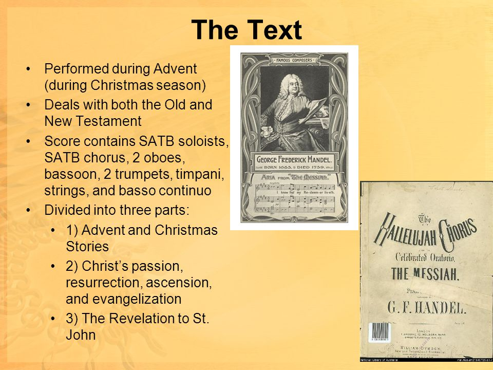 The Text Performed during Advent (during Christmas season)