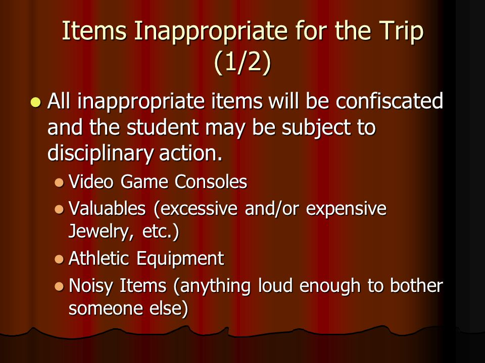 Items Inappropriate for the Trip (1/2)