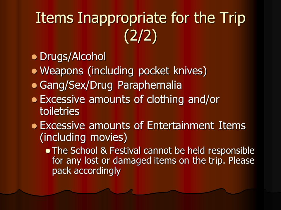 Items Inappropriate for the Trip (2/2)