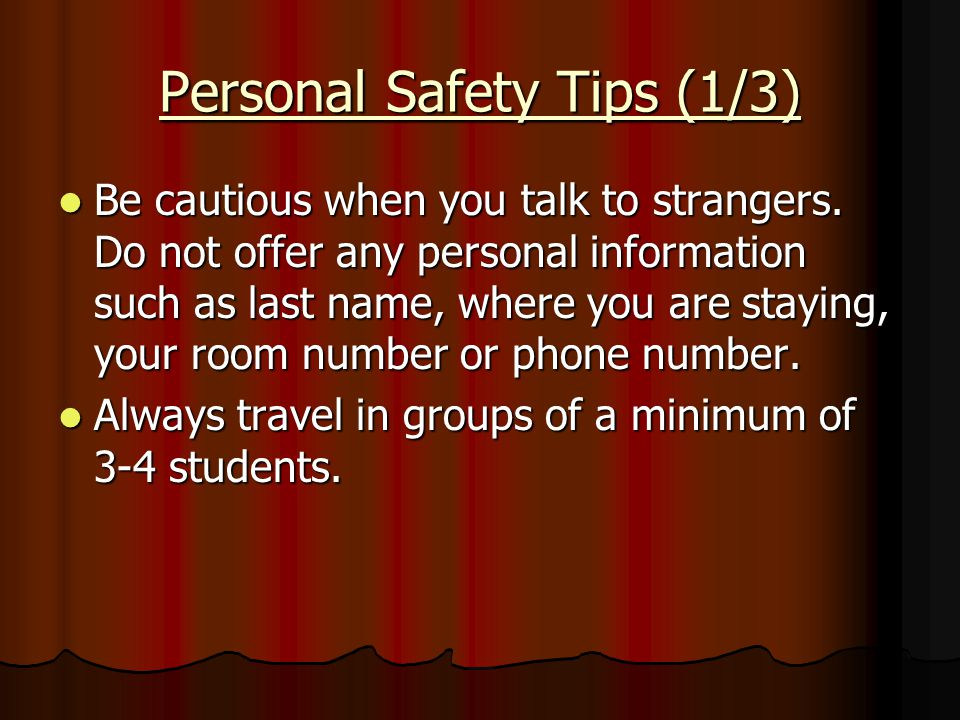 Personal Safety Tips (1/3)