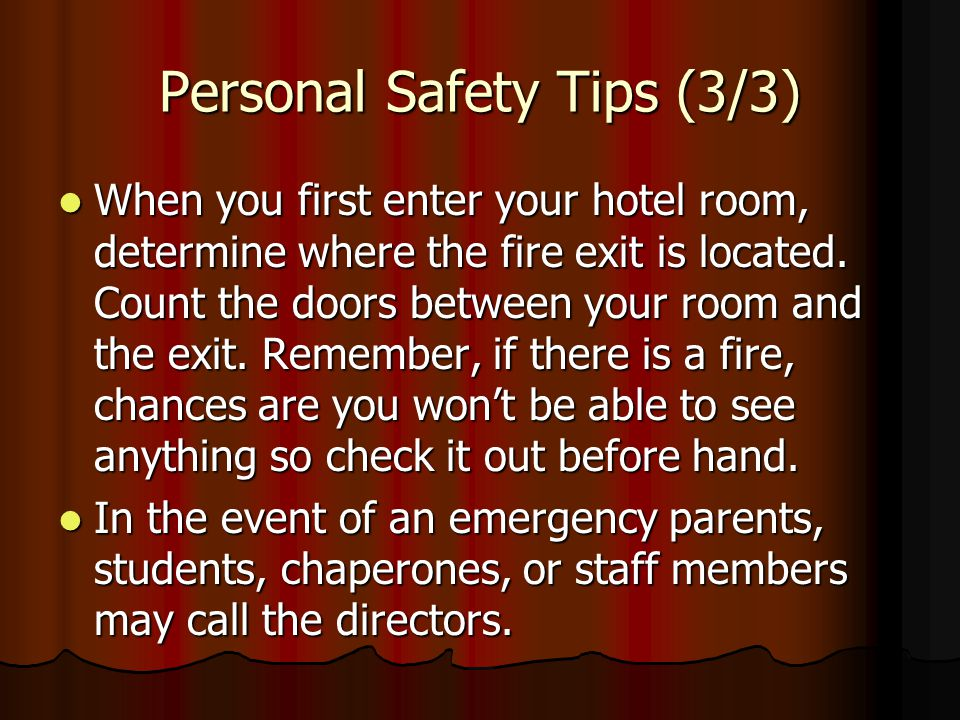 Personal Safety Tips (3/3)