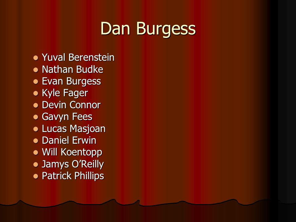 Dan Burgess Yuval Berenstein Nathan Budke Evan Burgess Kyle Fager