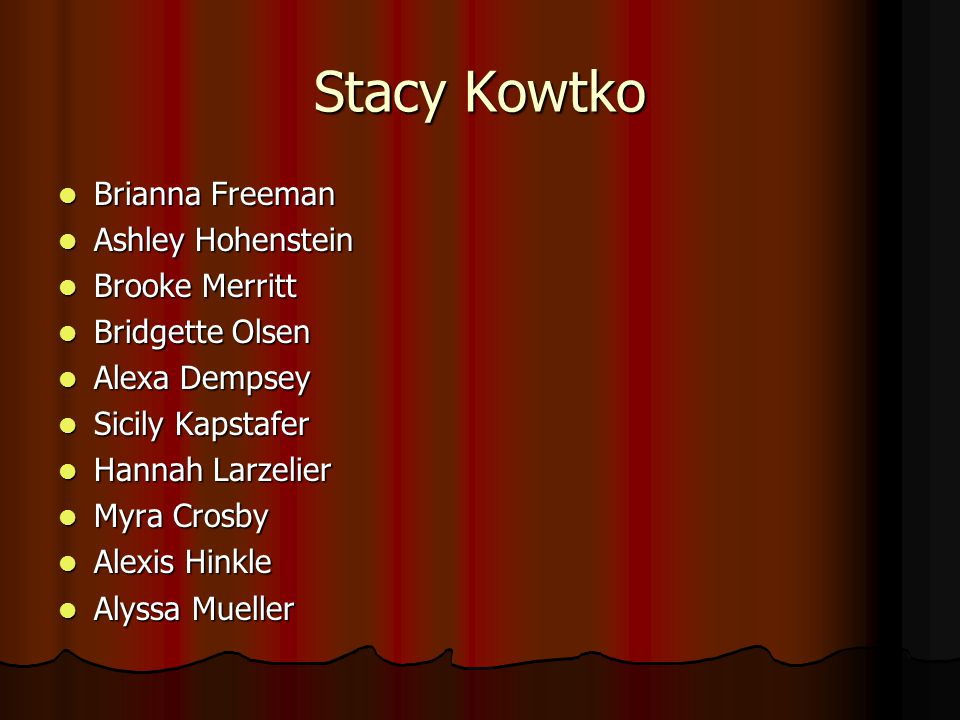 Stacy Kowtko Brianna Freeman Ashley Hohenstein Brooke Merritt