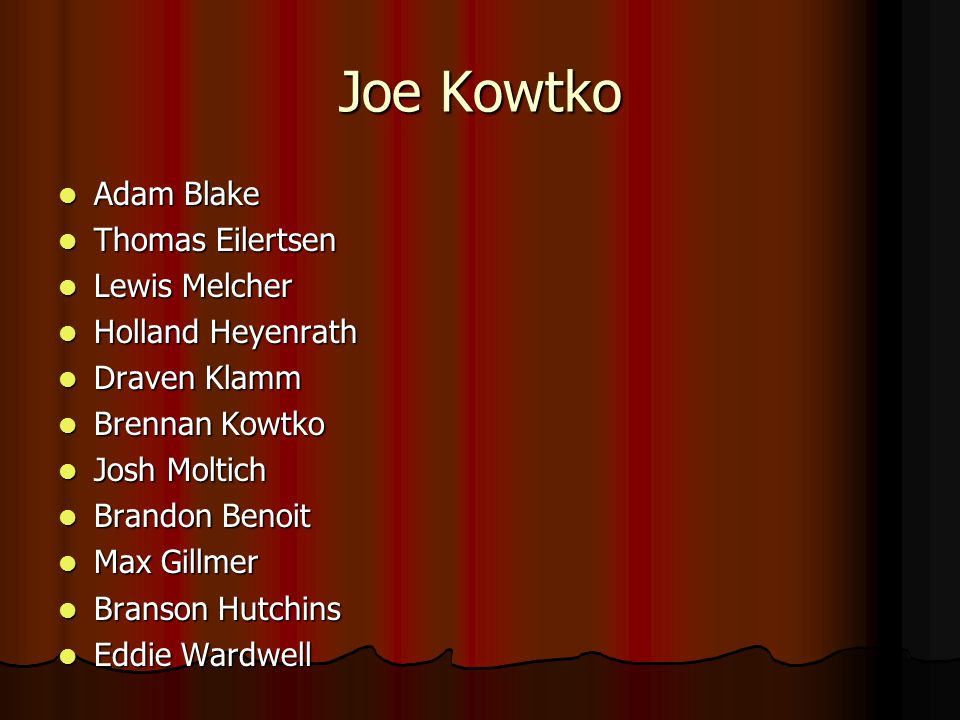 Joe Kowtko Adam Blake Thomas Eilertsen Lewis Melcher Holland Heyenrath