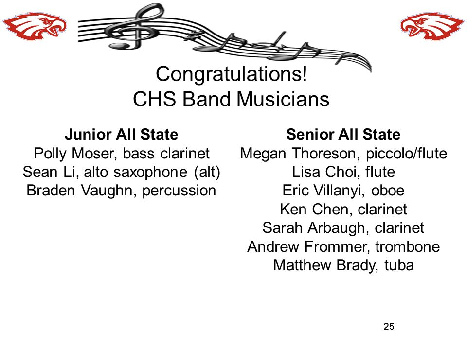 Congratulations! CHS Band Musicians Junior All State