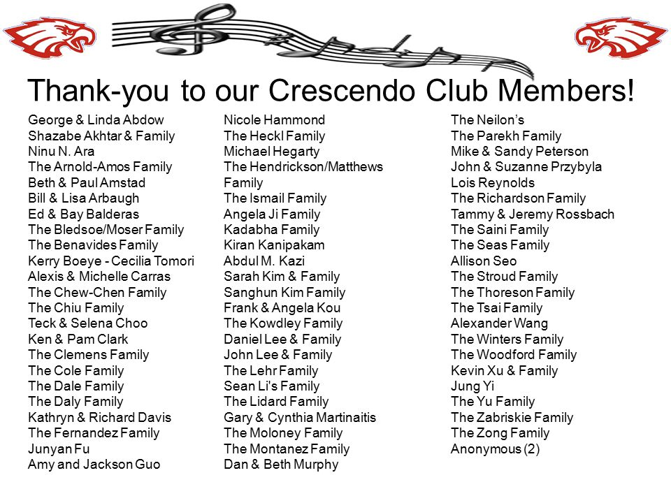 Thank-you to our Crescendo Club Members!