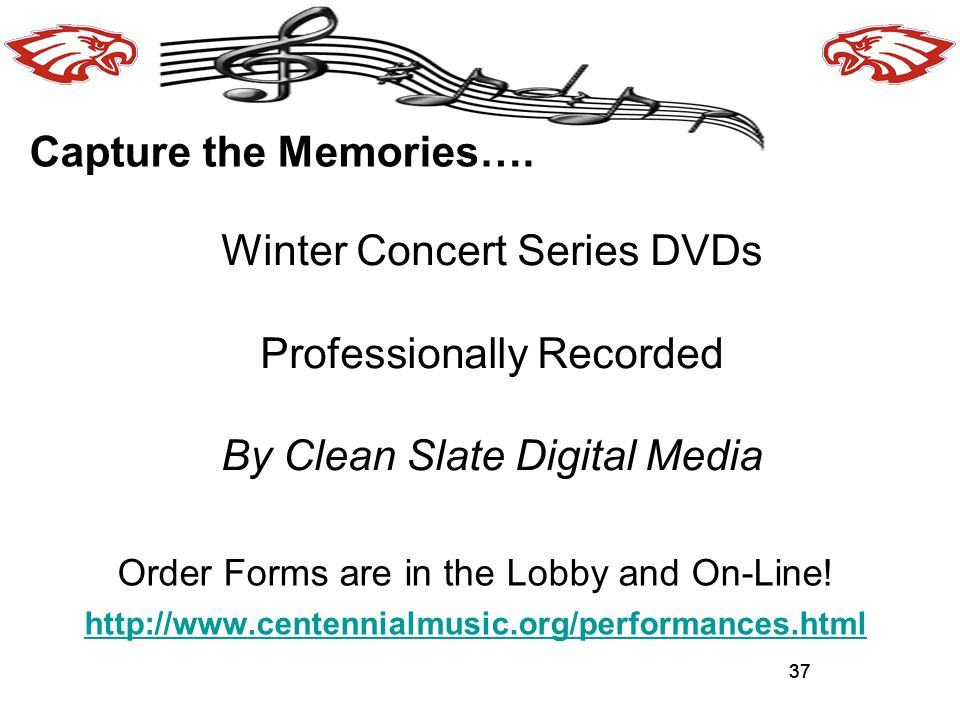 Winter Concert Series DVDs Professionally Recorded