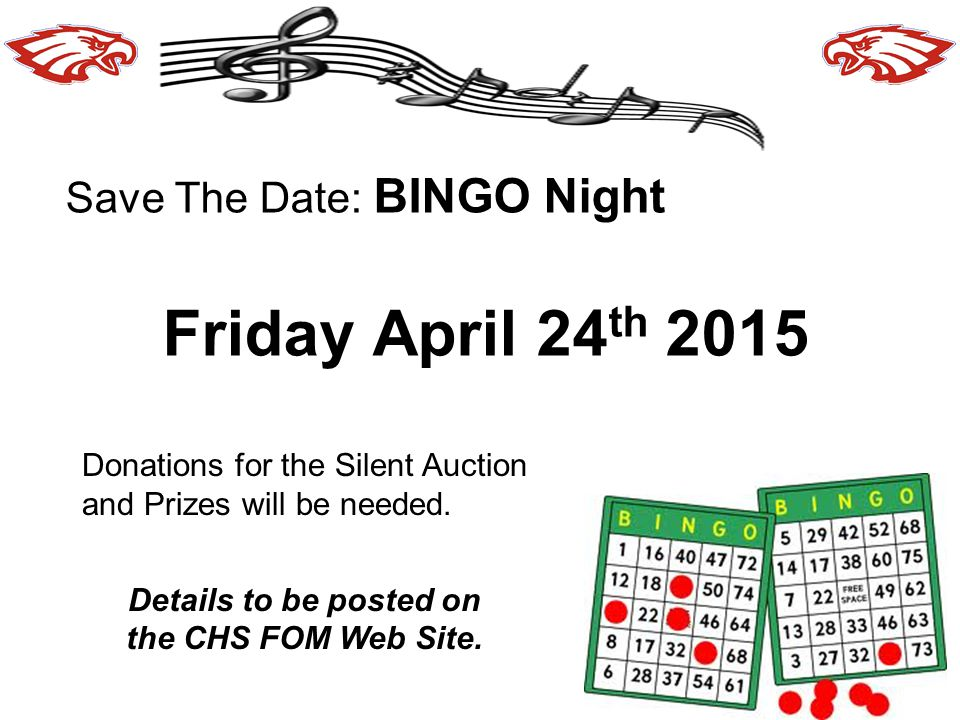 Details to be posted on the CHS FOM Web Site.
