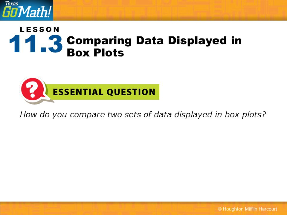 Comparing Data Displayed in Box Plots