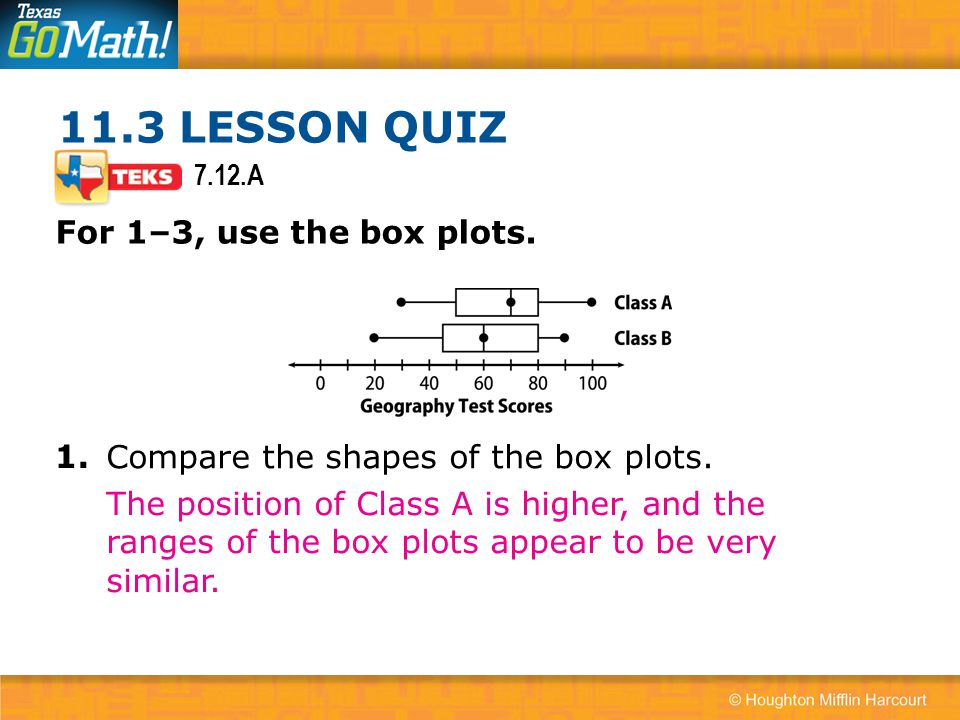 11.3 LESSON QUIZ For 1–3, use the box plots. 1.