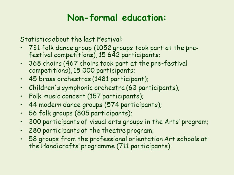 Non-formal education: