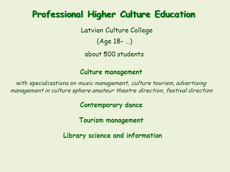 Professional Higher Culture Education Library science and information