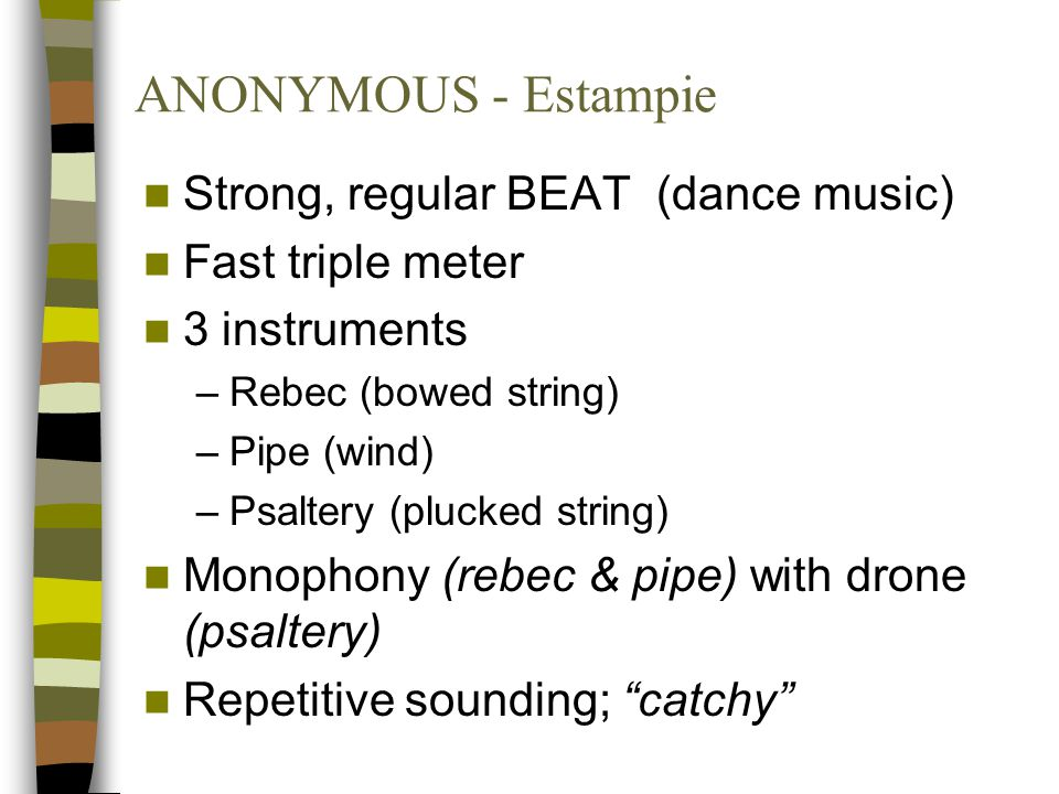 ANONYMOUS - Estampie Strong, regular BEAT (dance music)