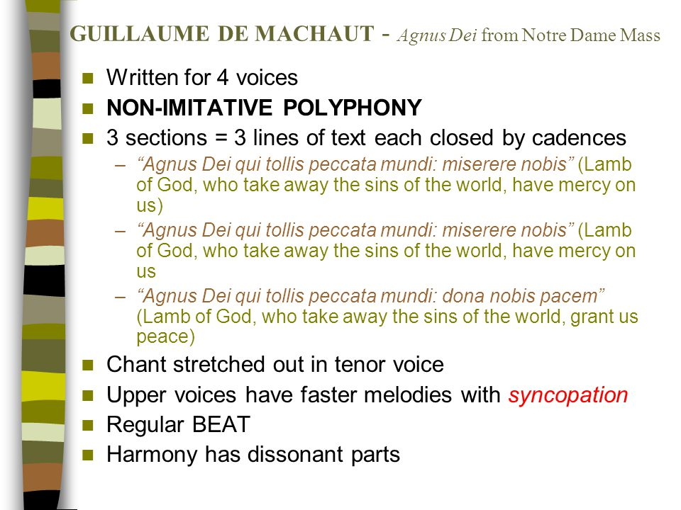 GUILLAUME DE MACHAUT - Agnus Dei from Notre Dame Mass