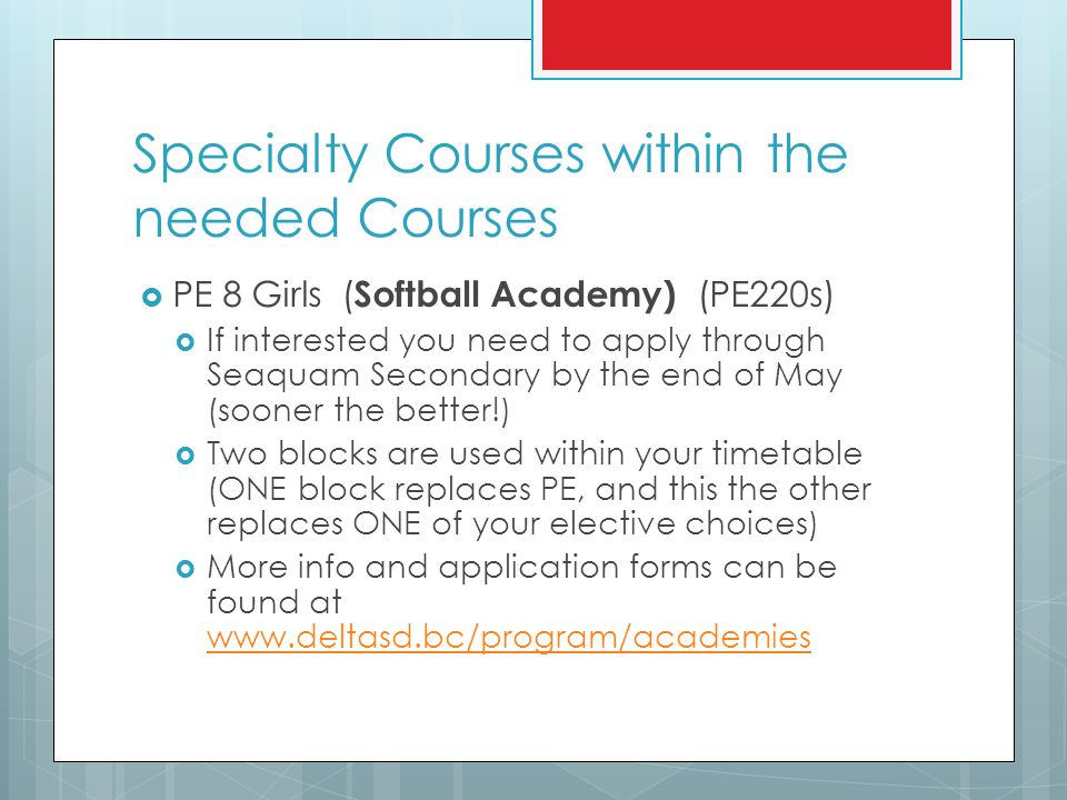 Specialty Courses within the needed Courses