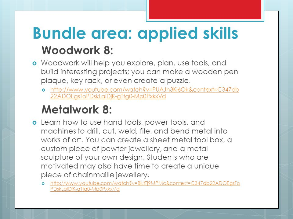 Bundle area: applied skills