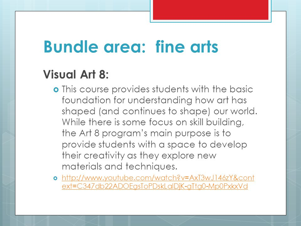 Bundle area: fine arts Visual Art 8: