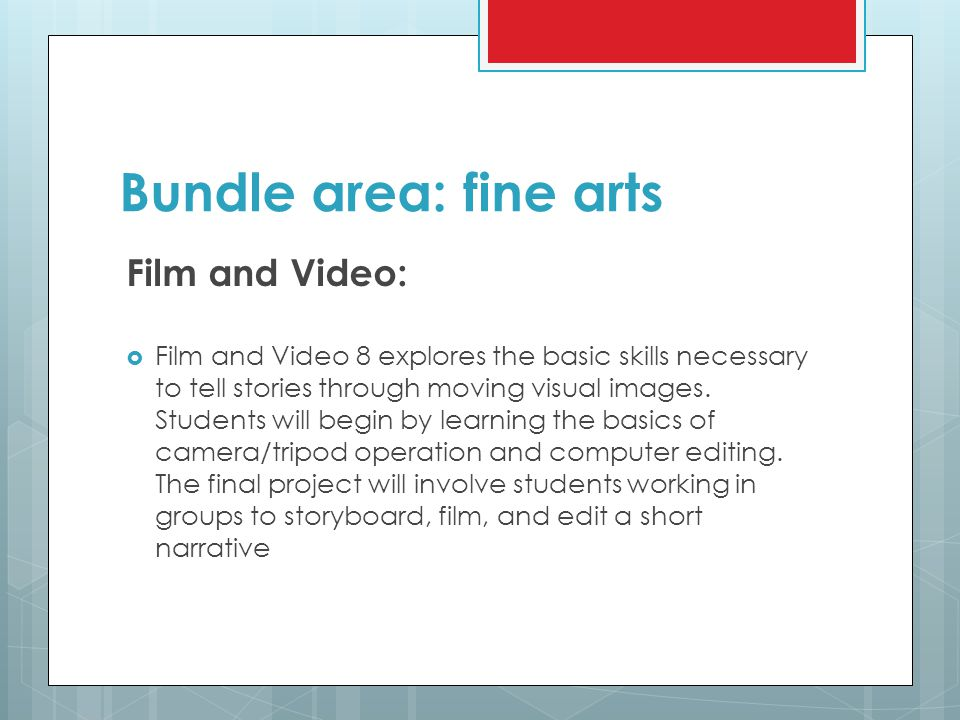 Bundle area: fine arts Film and Video: