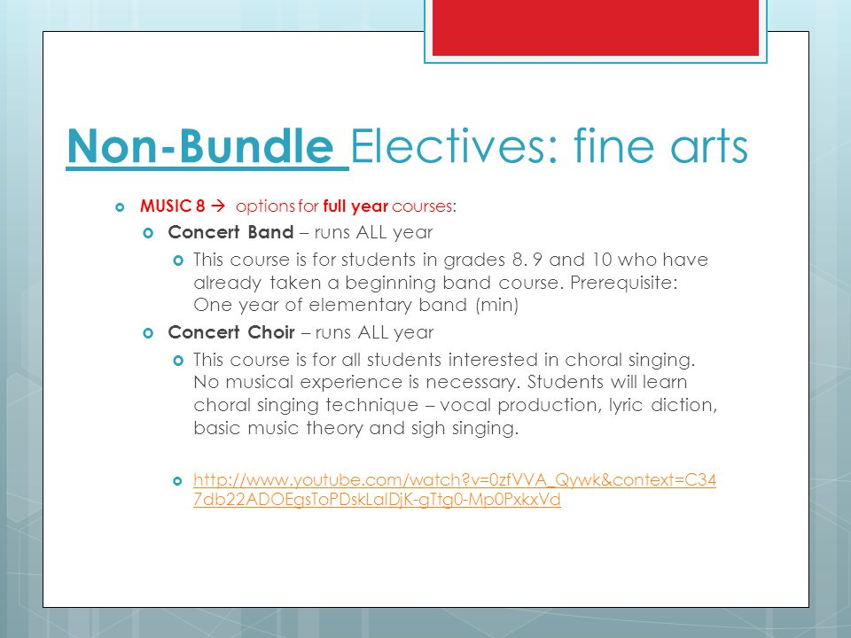 Non-Bundle Electives: fine arts