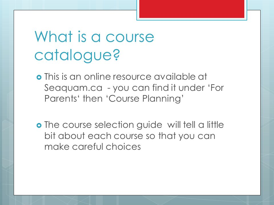 What is a course catalogue