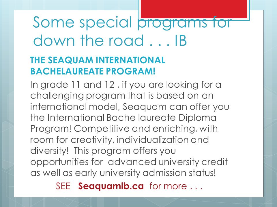 Some special programs for down the road . . . IB