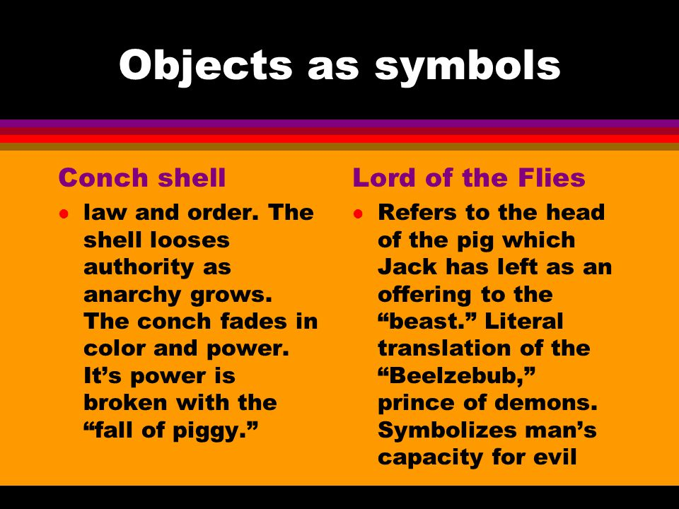Objects as symbols Conch shell Lord of the Flies