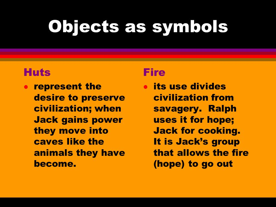 Objects as symbols Huts Fire