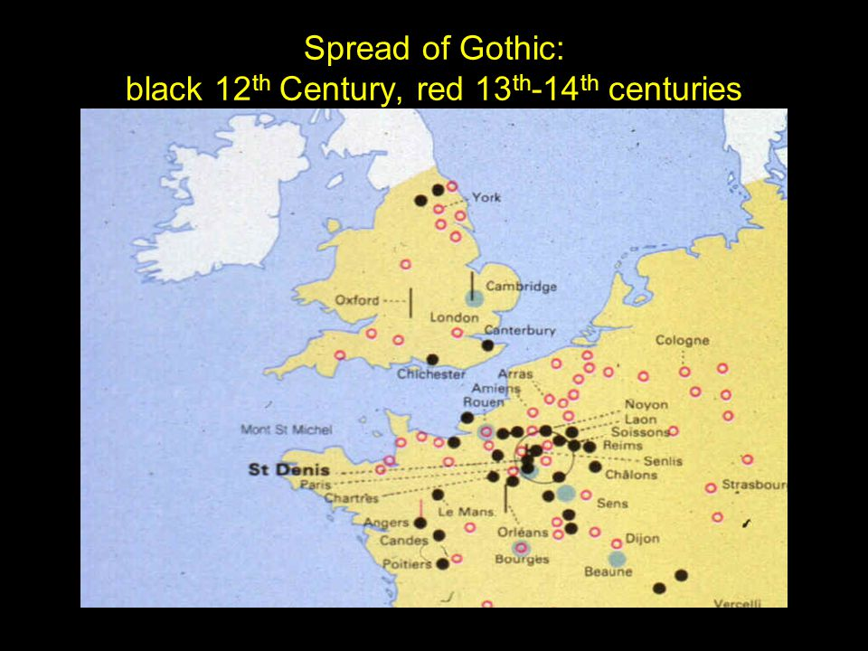 Spread of Gothic: black 12th Century, red 13th-14th centuries