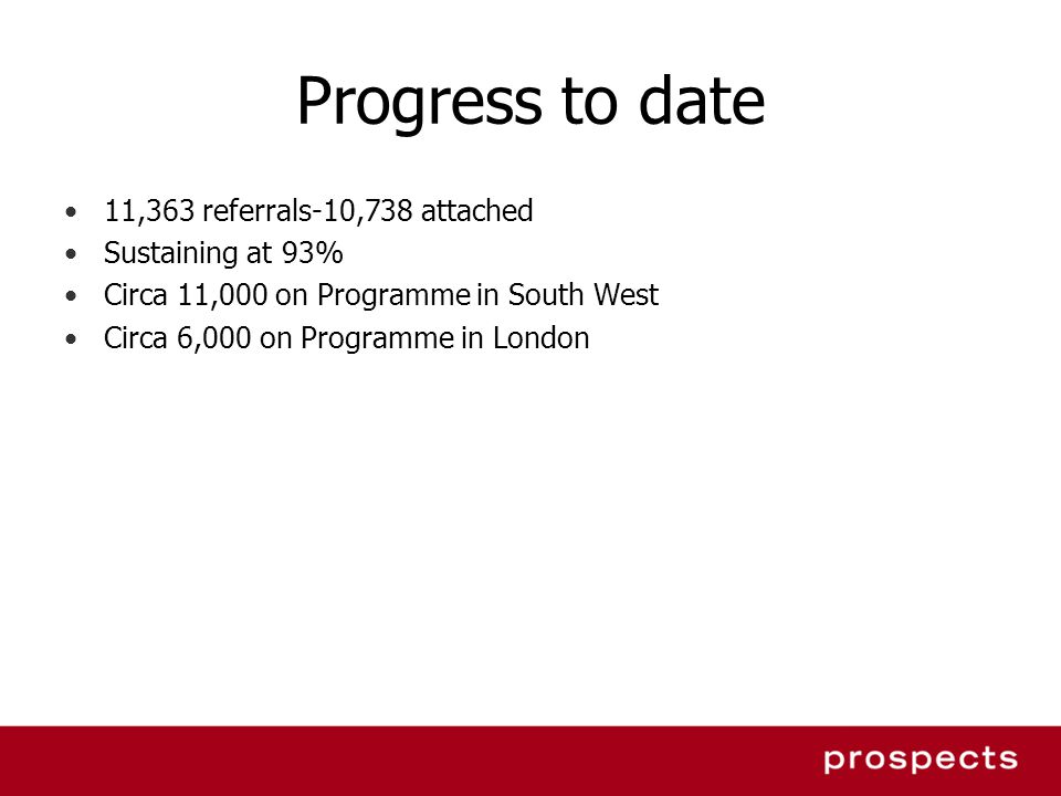 Progress to date 11,363 referrals-10,738 attached Sustaining at 93%
