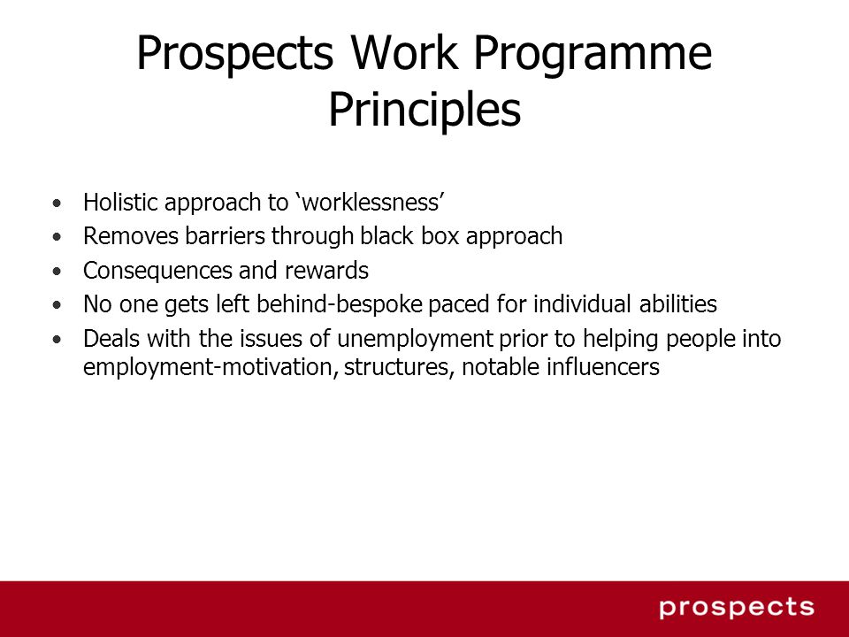 Prospects Work Programme Principles
