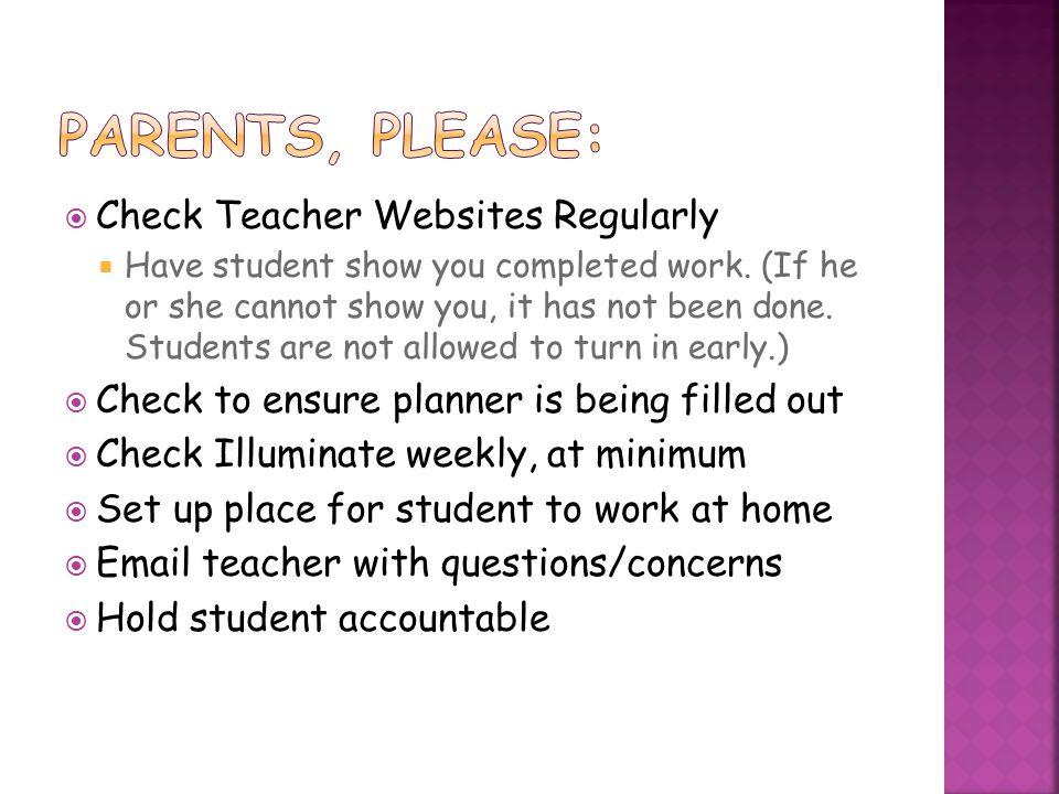 Parents, please: Check Teacher Websites Regularly