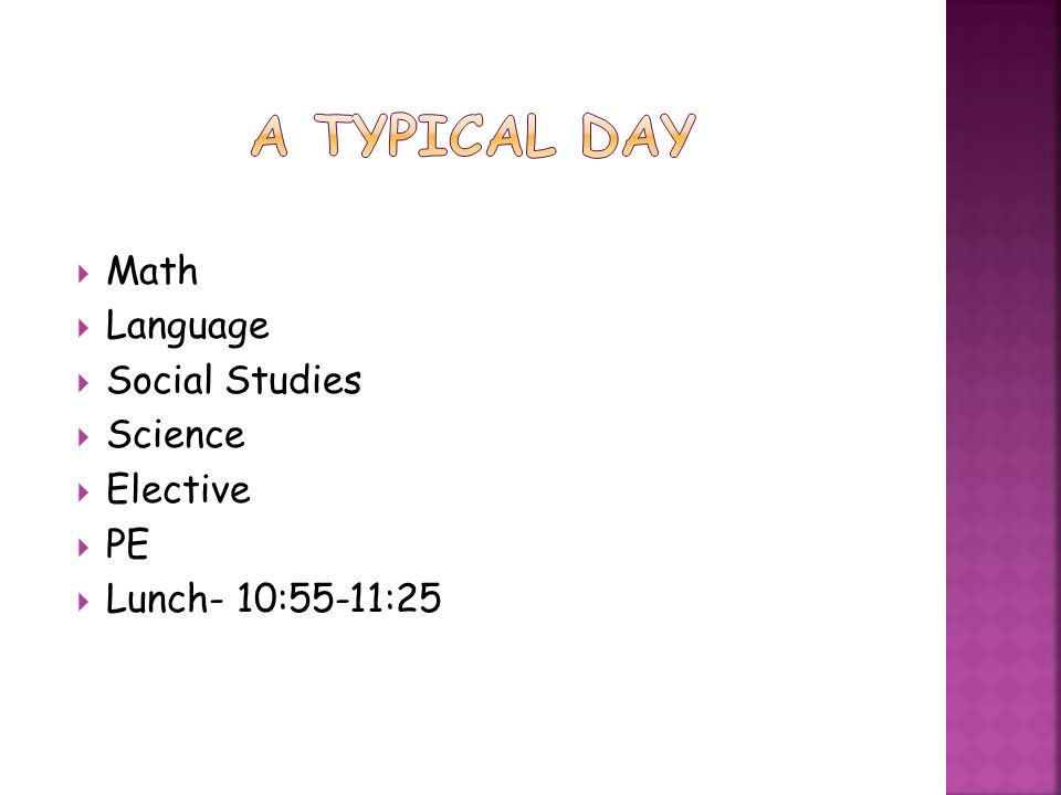 A Typical Day Math Language Social Studies Science Elective PE