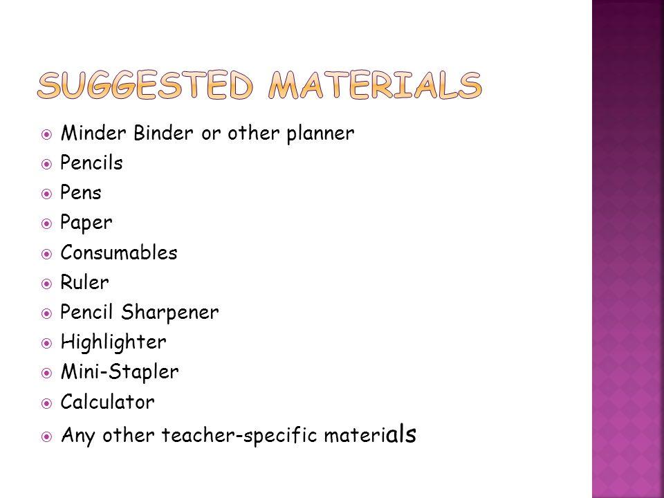 Suggested Materials Minder Binder or other planner Pencils Pens Paper