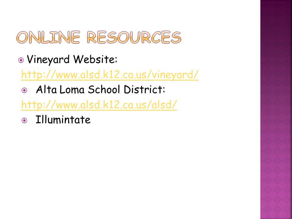 Online Resources Vineyard Website: http://www.alsd.k12.ca.us/vineyard/