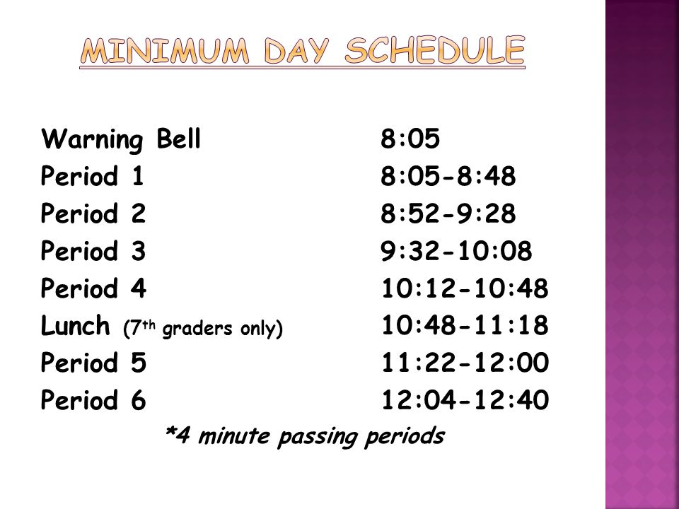 *4 minute passing periods