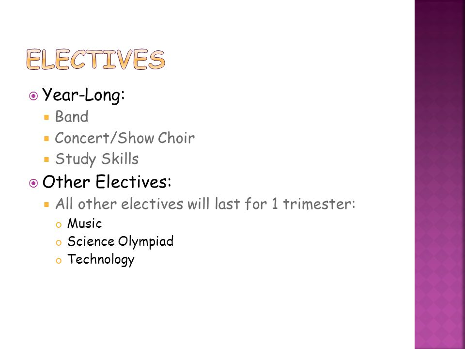 Electives Year-Long: Other Electives: Band Concert/Show Choir